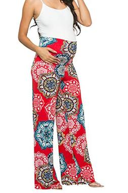 My Bump Women's Maternity Casual Bohemian Damask Palazzo Pan