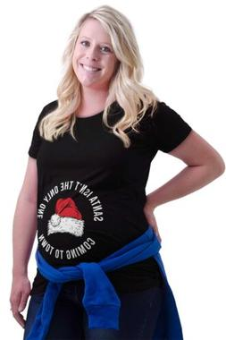 Maternity Clothes Santa Only One Coming Town Funny Cute Mom