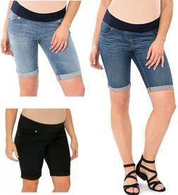 Great Expectations Maternity Denim Bermuda Shorts Denim Blac
