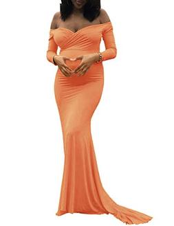 Saslax Maternity Elegant Fitted Maternity Gown Long Sleeve S