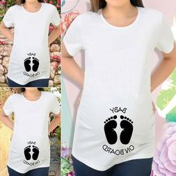Maternity Footprint Baby On Board Print T-shirt Pregnant Wom