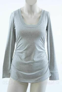 Lilac Clothing Maternity gray S 4 6 ruched side scoop neck t