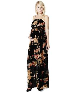 Jessica Simpson Maternity Maxi Dress Women's Small Floral Bl
