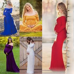 Maternity Off Shoulder Long Maxi Dress Pregnant Gown Props C