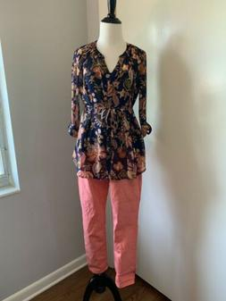 Motherhood Maternity Outfit : Floral Shirt And Coral Color J