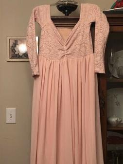 Maternity Photography Mid Sleeve Lace Formal Dress Pink SIZE
