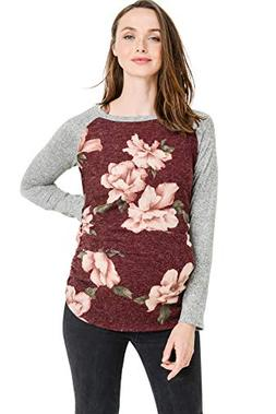 Women's Maternity Sweater Knit Tops - Long Sleeve, Ruched, R