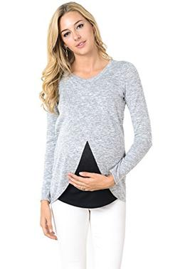 Hello MIZ Women's Maternity Sweater Nursing Top - Made in US
