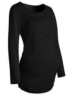 Maternity Shirt Long Sleeve Basic Top Ruch Sides Bodycon Tsh