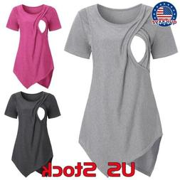 Maternity Tops Short Sleeve Breastfeeding T-shirt Nursing Ma