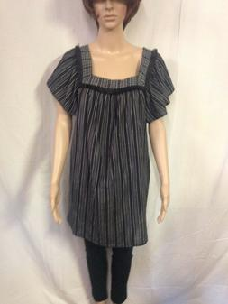 Maternity Vertical Striped Short Sleeve Square Neck Woven To