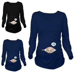 Maternity Women Baby in Pocket Print T-Shirt Top Tee T-shirt