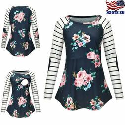 Maternity Women Floral Striped Long Sleeve Nursing Tops T-Sh