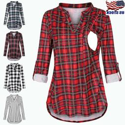 Maternity Women Long Sleeve Plaid Print Tops Pregnancy Breas