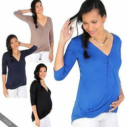 Maternity Womens Plunge V Neck 3/4 Sleeve Wrap Top Stretch T