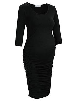 Coolmee MissQee Maternity Dress Ruched Round Neck Maternity