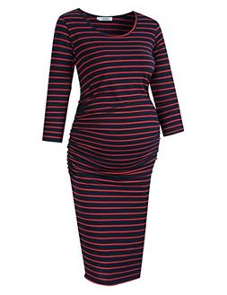 Coolmee MissQee Ruched Maternity Dress Round Neck Maternity