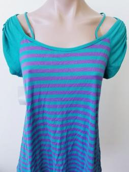 My Lil' Bump Maternity Teal With Purple Striped Short Cold S