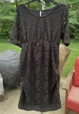NEW Plus Size MATERNITY DRESS 2X - BLACK LACE SHEATH by Plan