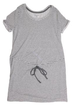 New Women's Maternity Clothes Casual Shirt Dress Belt Stripe