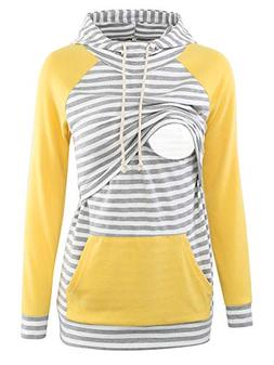 Liu & Qu Womens Nursing Hoodie Long Sleeves Sweatshirt Breas