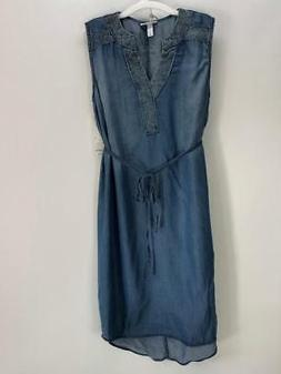 NWT $28 Liz Lange Denim Colored Maternity Dress Size Medium