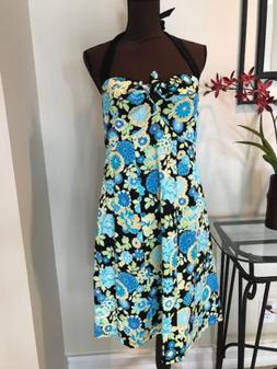 NWT Mimi Maternity Black Blue Halter Summer Floral Sun Dress