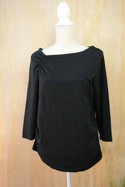 NWT Duo Maternity - Black wide neck 3/4 sleeve COTTON blend