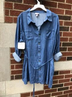 NWT~ Ingrid Isabel Maternity Button Up Denim Jean Shirt~Size