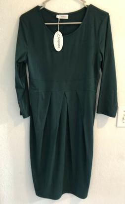 NWT Coolmee Maternity Dress Size Medium, Dark Green. Long Sl