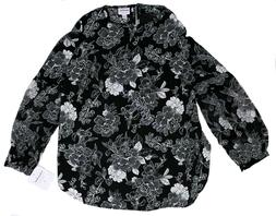 NWT Women's Maternity Clothes Black Floral Print Blouse To