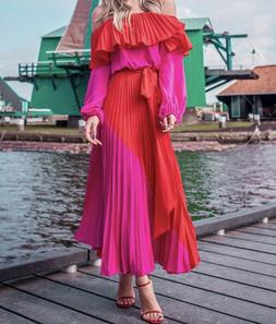 off the shoulder pink and red maxi dress