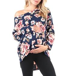 Mother Bee Women's Oversized Off Shoulder Maternity Tunic To