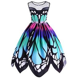 Party Dress,Lamolory Womens Butterfly Printing Sleeveless Vi