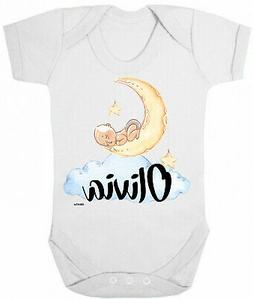 Personalised BABY GROW Boys Girls Name Moon Cute Funny Bodys
