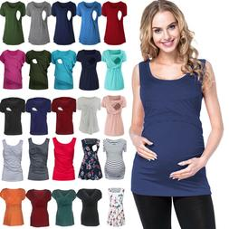Plus Size Women Pregnant Maternity T-Shirt Nursing Breastfee