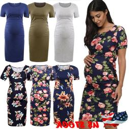 Pregnant Clothes Women Maternity Short Sleeve Casual Dress C
