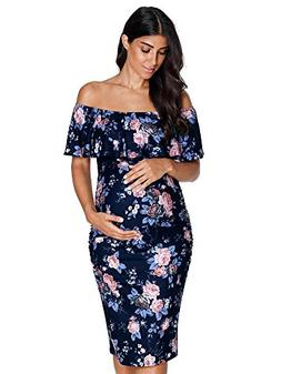 Liu & Qu Pregnant Women's Maternity Floral Off Shoulder Maxi