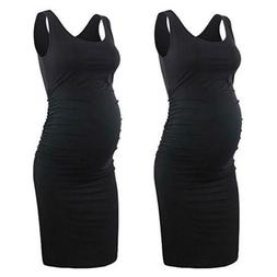 Pregnant Sleeveless Round Neck Dress Round Neck Breathable S