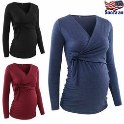 Pregnant Women Cross V Neck Long Sleeve Tops Shirt Long Slee