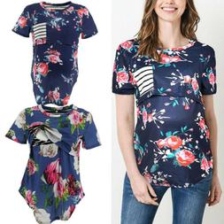 Pregnant Women Floral Print Nursing Tops Maternity Breastfee
