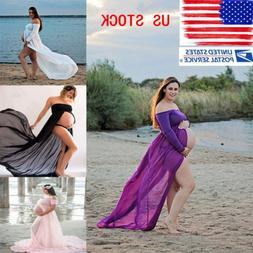 Pregnant Women Front Split Long Maxi Maternity Dress Gown Ph