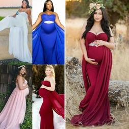 Pregnant Women Gown Maternity Maxi Dress Wedding Party Photo