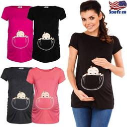 Pregnant Women Maternity Clothes Nursing Tops Funny Breastfe