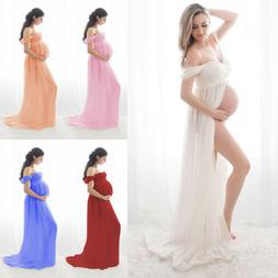 Pregnant Women Off Shoulder Gown Maxi Long Dress Maternity P
