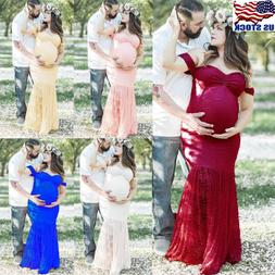 Pregnant Women Off-shoulder Lace Long Maxi Dress Maternity P