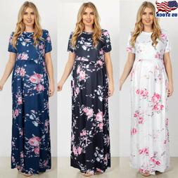 Pregnant Women's Floral Long Dress Short Sleeve For Maternit