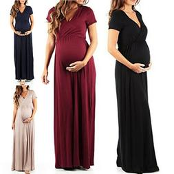 Pregnant Women Summer V Neck Long Maxi Dress Maternity Causa
