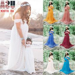 Pregnant Womens Lace Maxi Long Dress Maternity Ball Gown Pho