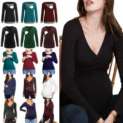 Pregnant Womens Maternity Clothes Nursing Wrap Tops Breastfe